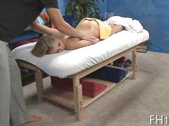 Babe has a fine time getting massaged like that