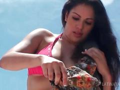 Little latina bombshell shows off hot bod in bikini and flashes in public