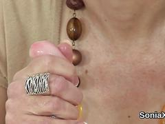 Unfaithful english mature lady sonia shows her giant naturals