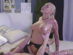 milf, tattoo, blonde, big ass, stockings, busty, missionary, cowgirl, boobs groping, momxxx, sexy hub, steve xxxxx, kayla green