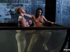 Lesbian domina getting pussy licked by blonde slave