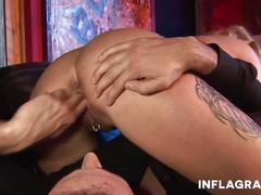 Sexy curly ann squeezes cock
