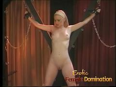 Helpless skinny blonde slave dominated by a hot mistress