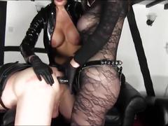 Two hot mistresses strapon fuck a helpless slave