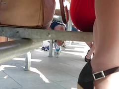 Upskirt panties milf coworker under table hidden cam