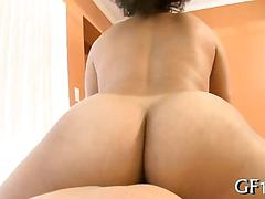 Curvy black girl riding dick bouncing her big tits