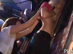 Euro chicks start off a fuck fest in a club