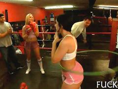Teens get naked in a boxing gym and have dirty fun