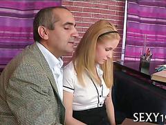 Blonde schoolgirls pink pussy is craving her teachers hard cock