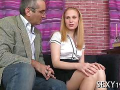 Blonde schoolgirls pink pussy is craving her teachers hard cock