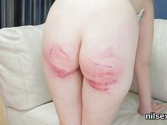 Spanking her ass and the blonde just looses it