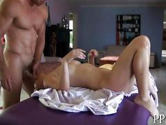 Brunette bombshell  gets her shaved pussy banged and face fucked during massage