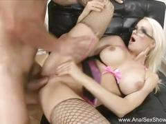 French slut with glasses anal sex