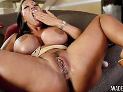 Holes of ava devine penetrated with huge dildos