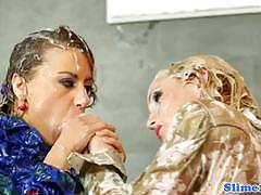 Racy lesbians doused with cum