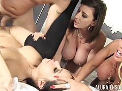 Pussy hammering cumswapping orgy with alura jenson and friends