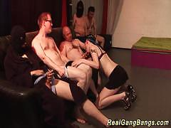 Amateur enjoys her first gangbang