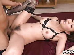 Trimmed japanese chick gets her pussy filled full of hot cum
