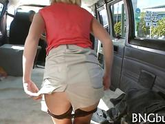 Blonde in lace black panties banging in the bang bus spoon style