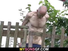 Old man is helping her cum