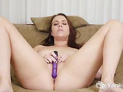Seductive amateur dildo fucks her warm pussy