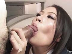 Hot brunette swallows this hard cock