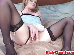 Hottie fucks this huge cock