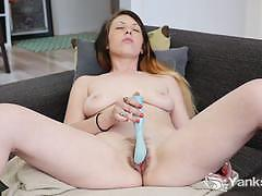 Amateur brunette vibes her warm pussy