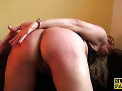 Bound blonde fucked