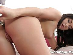 Hot brunette toys her warm pussy