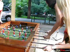 Full video of four shemales licking and fucking wet assholes