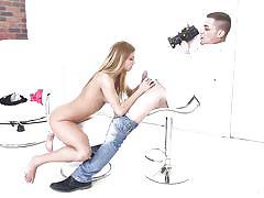 teen, redhead, blowjob, fingering, natural tits, big dick, from behind, filming, pov sex, porn 18, chrissy fox