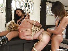 Blonde twink punished by three transsexual executors