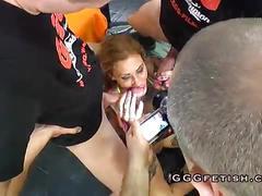 Group facials on german sluts