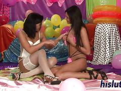 Kinky teenage lesbos have fun with toys