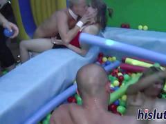 Slutty bimbos get rammed in an orgy