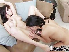 Teens shaved pussy takes a glass toy and gets licked by lesbian