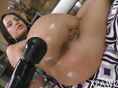 Big booty porn star oiled up for vibrator session and blowjob
