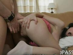 Brunette teen gets her ass drilled by a dirty guy
