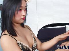Big tits asian raven gets fucked in a deep hot threesome