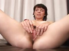 Skinny, hairy girl does bbc.