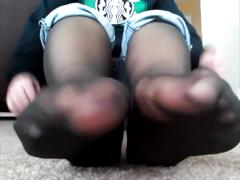 Bbw black nylon foot tease