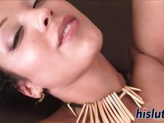 Dark latin babe gets her pussy fucked on a couch