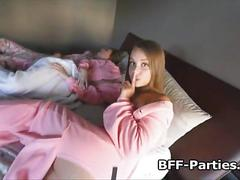 Fucking horny teens at pajama party