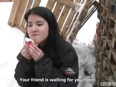 Amateur chick fucking in the snow