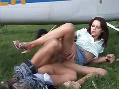 Fucking the pilot outdoors