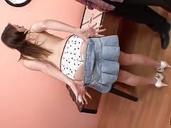 Cute brunette tori black gives hot handjob and receives facial