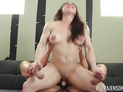 Strapon dildo hammered into the cute pussies of alura jenson and strong lady brandi may