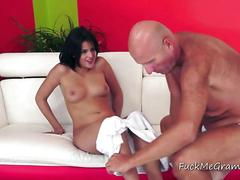 Old dude gets his hands on a brunette nymph and goes crazy