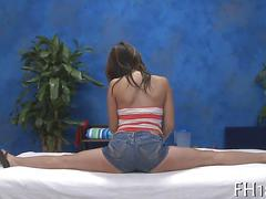 Brunette teen has a hot fuck from a massage